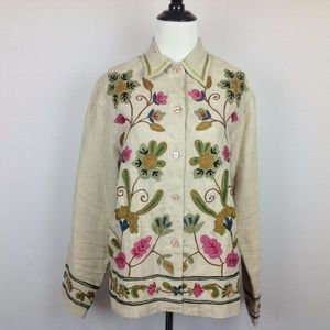 Orvis Jacket Womens Small Embroidered Linen Boho